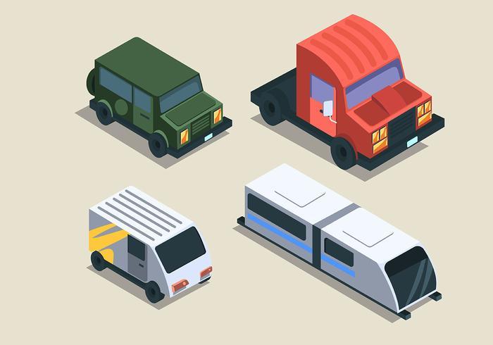 Isometrische Transport Clip Art Set auf hellem Hintergrund vektor