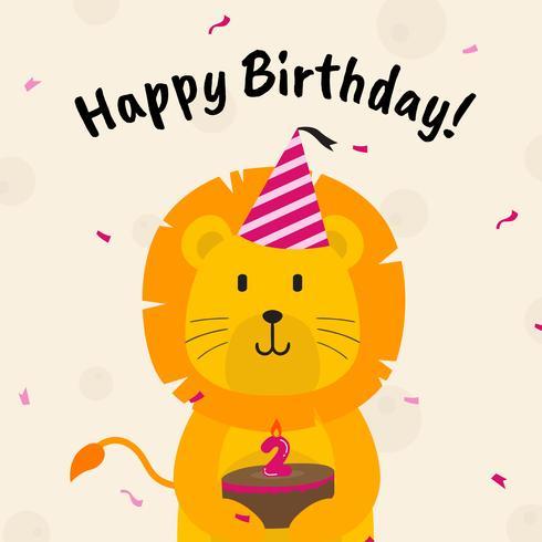 Saudações de aniversário com ilustração vetorial de animais