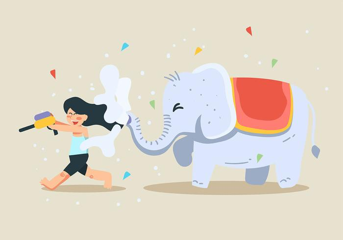 Songkran Festival und Elefant