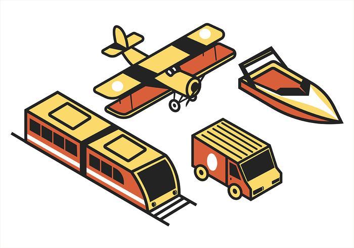 Transport isométrique Clip Art Set in Retro