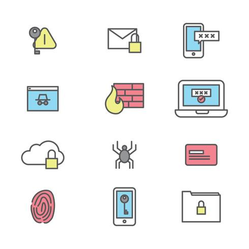 Icônes décrites à propos de la cybersécurité