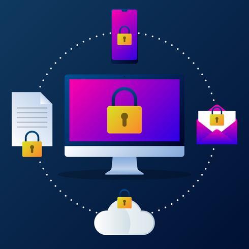 Proteger el mecanismo de privacidad del sistema concepto de ilustración vector