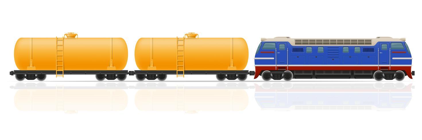 comboio ferroviário com locomotiva e vagões de ilustração vetorial vetor
