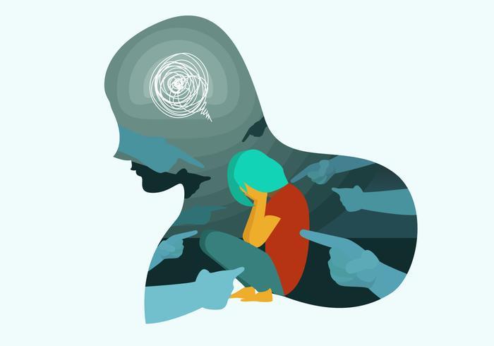 Mental Health On Bullying Vector Illustration