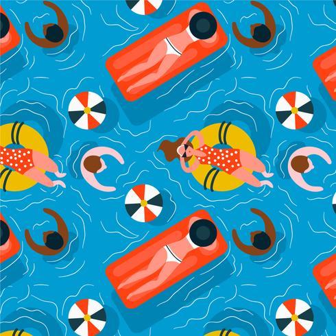 Cool piscina y personas patrón de vectores