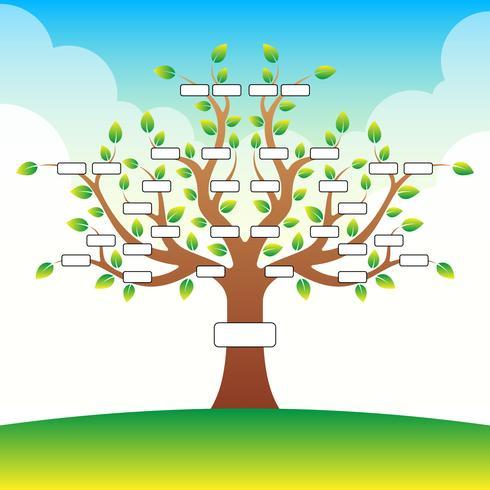 Modello dell'albero genealogico con il posto per testo sul fondo della nuvola