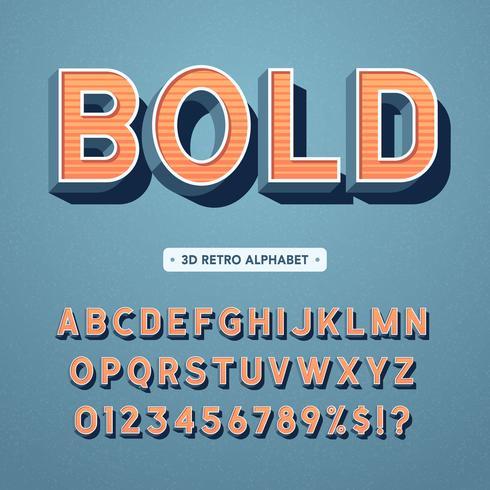 Retro alfabeto grassetto 3D