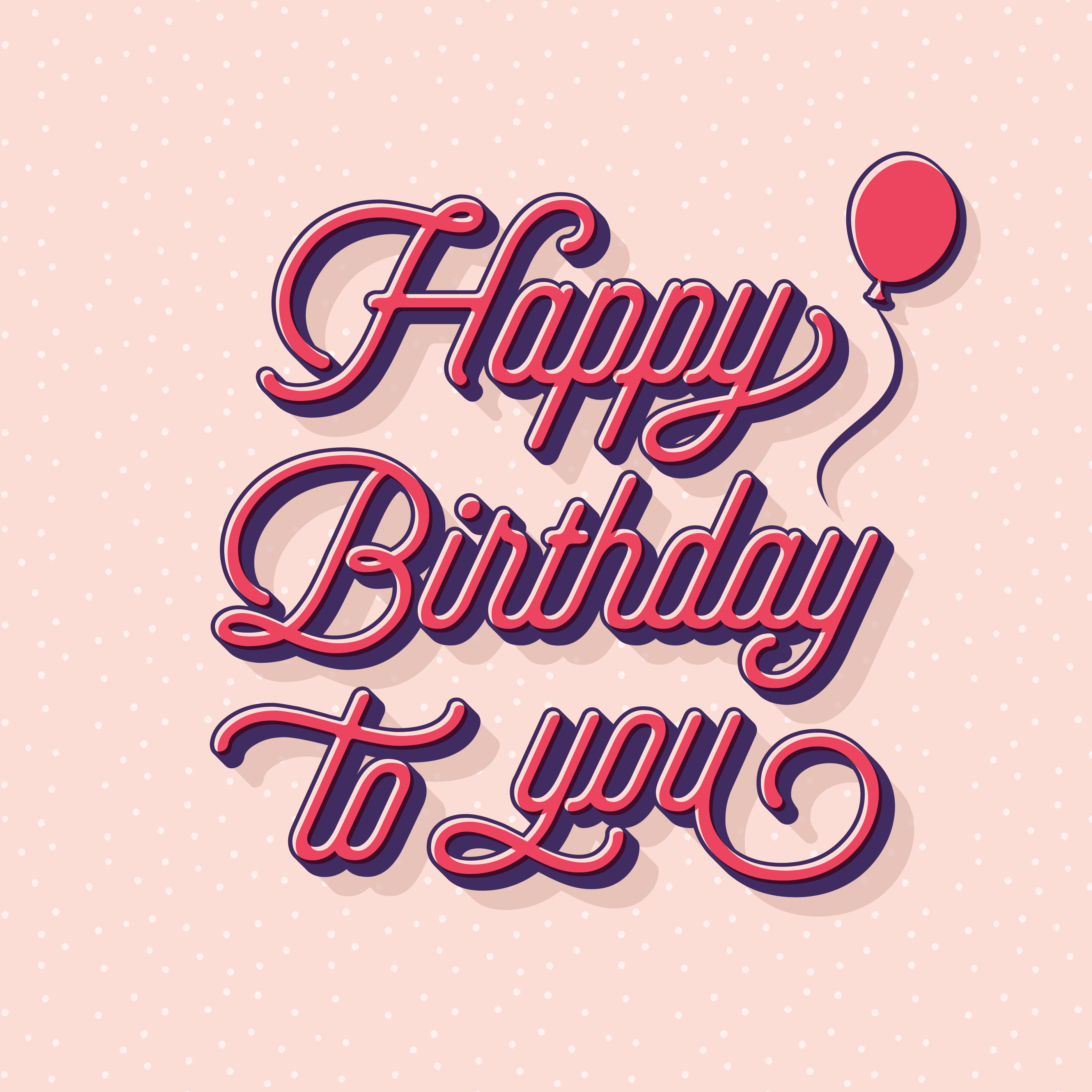 happy birthday typography greeting card 542237  download