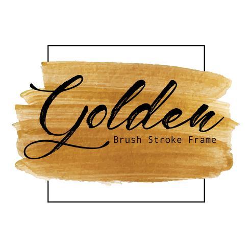 Trame de coup de pinceau doré, tache de peinture or texture, illustration vectorielle.