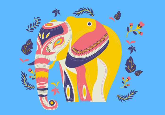 Motif Etnic décoratif sur vecteur d'éléphant peint