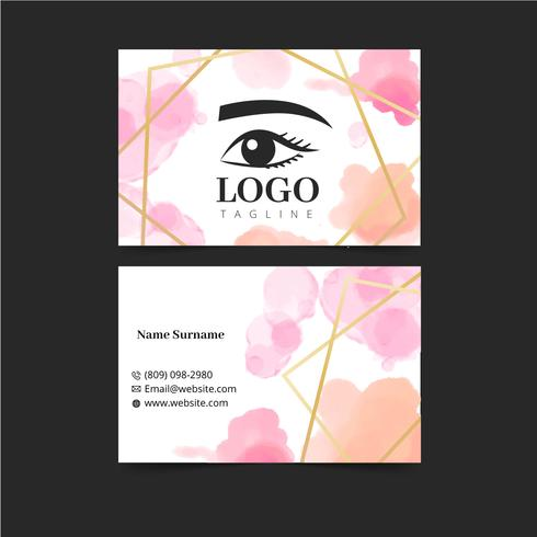Watercolor Make Up Artist Business Card Template vector