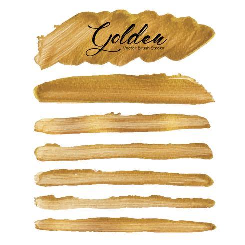 Coup de pinceau de vecteur doré, tache de peinture de texture or, illustration vectorielle.
