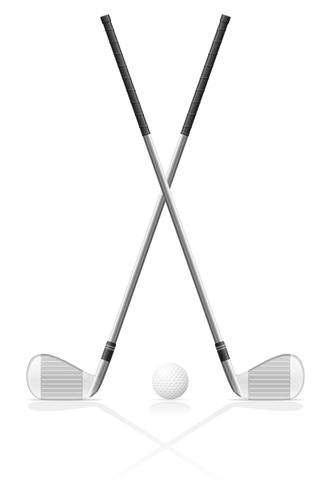 club de golf et illustration vectorielle balle