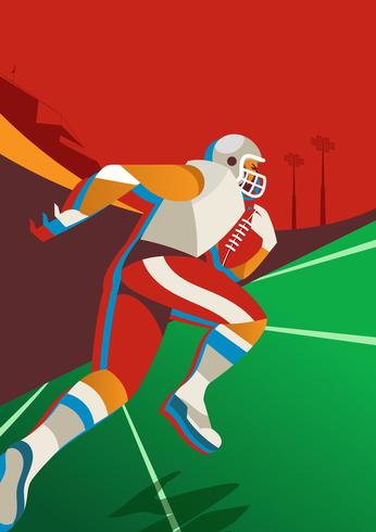 Giocatore di football americano in esecuzione