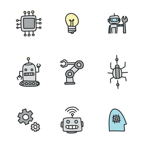 Doodled Icônes Robotiques