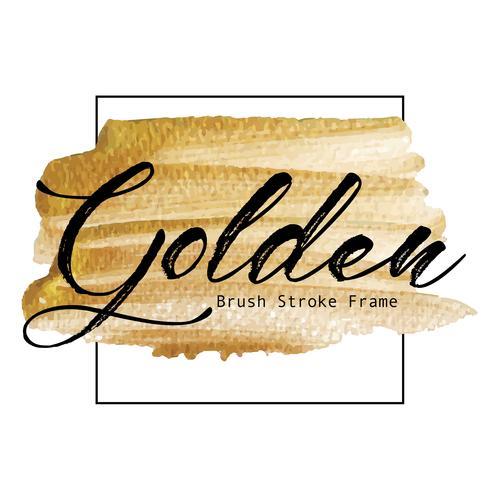 Marco de oro del movimiento del cepillo, mancha de la pintura de la textura del oro, ejemplo del vector.