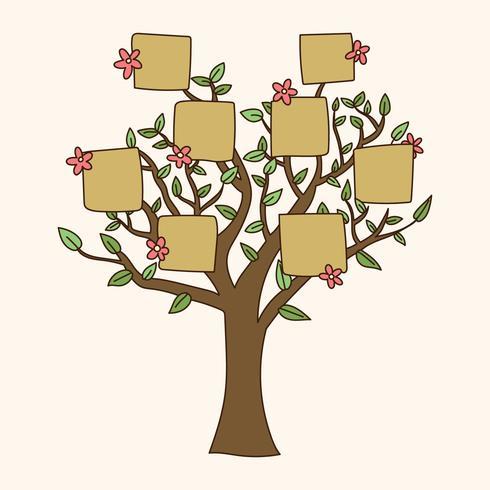 Gekritzelter Stammbaum Mit Blumen
