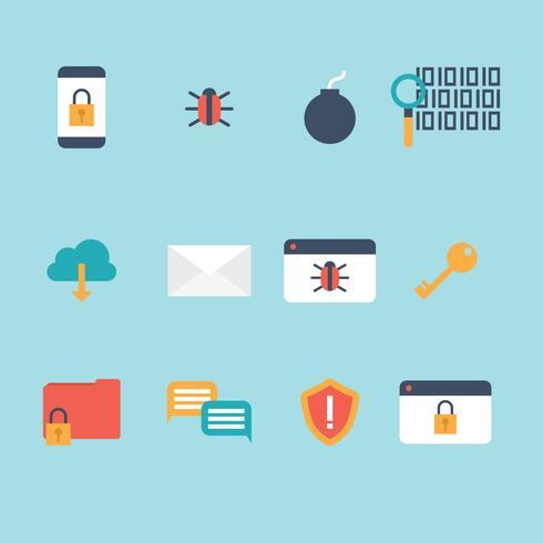 Ícones planos de segurança cibernética vetor
