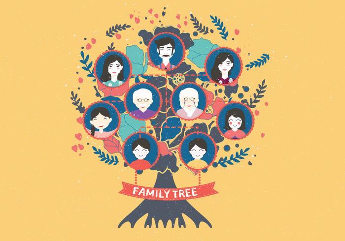 Familj Tree Template Vol 4 Vector