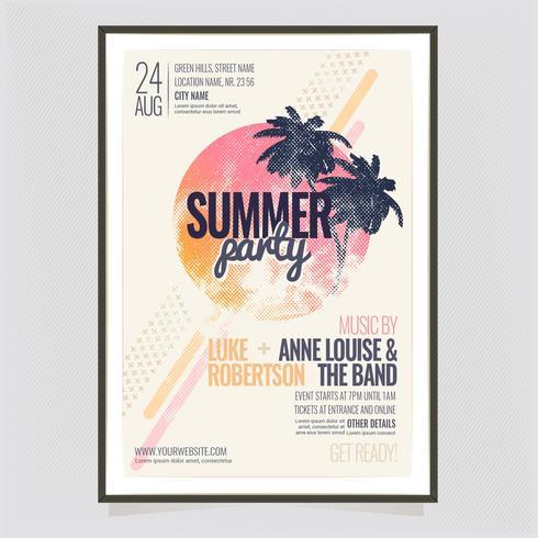Modelo de cartaz do vetor verão festa