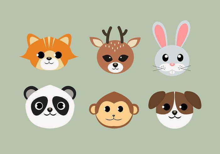 Set di facce di animali scarica gratis arte vettoriale elementi