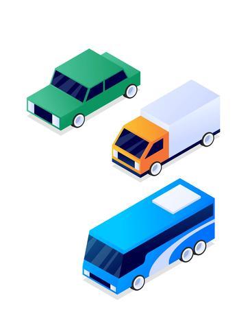 Verbazingwekkende isometrische vervoer illustratieset