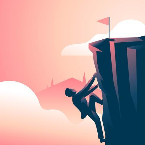 Corporate Goals Cliff Challenge vector