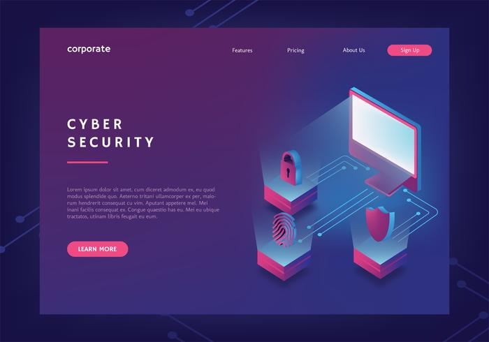 Plantilla de banner web de seguridad cibernética