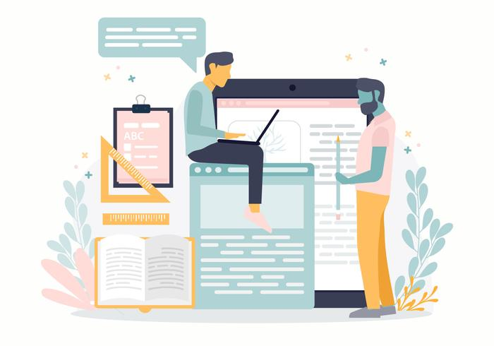 Ilustração em vetor aprendizagem conceito on-line