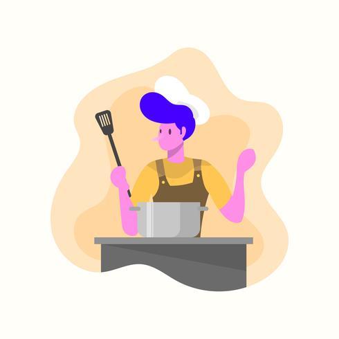 Platte moderne chef-kok vectorillustratie