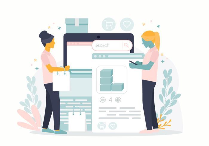 Vektor Online Shopping Koncept Illustration