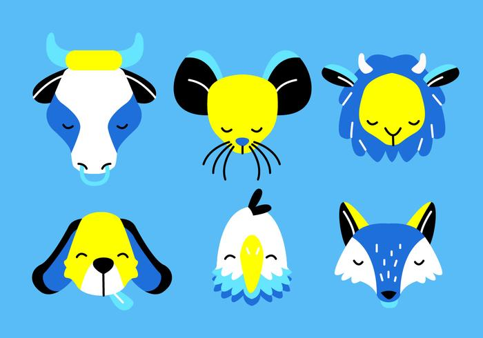 Caras de animales cabeza conjunto Vector ilustración plana