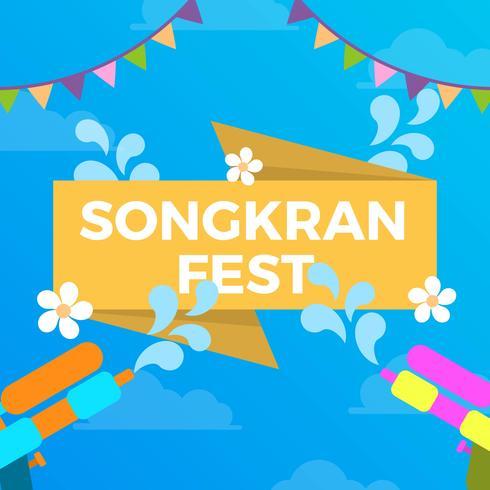 Flache bunte Songkran-Festival-Vektor-Fahnen-Illustration