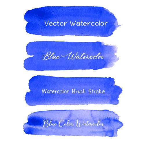 Blue brush stroke watercolor on white background. Vector illustration.