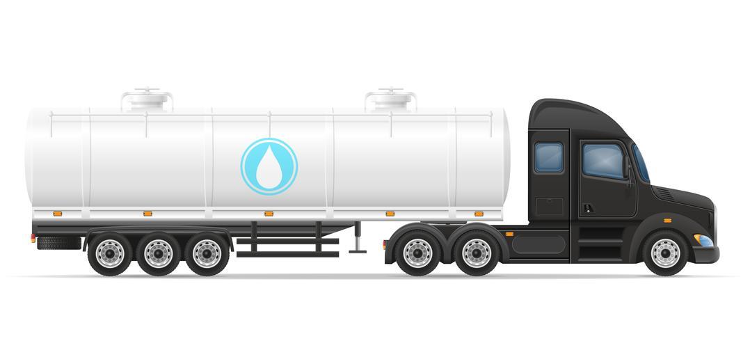 Camión semi remolque entrega y transporte de tanque para ilustración vectorial líquido vector