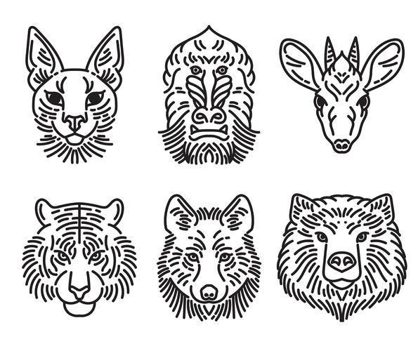 dierlijke gezichten ingesteld