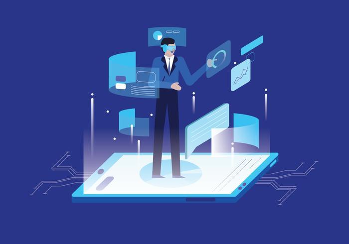 Professor Developing Artificial Intelligence vector Illustration