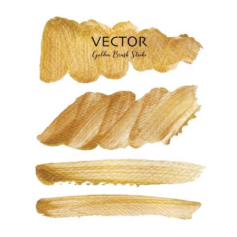 Colpo di pennello dorato vettoriale, macchia di vernice trama oro, illustrazione vettoriale.