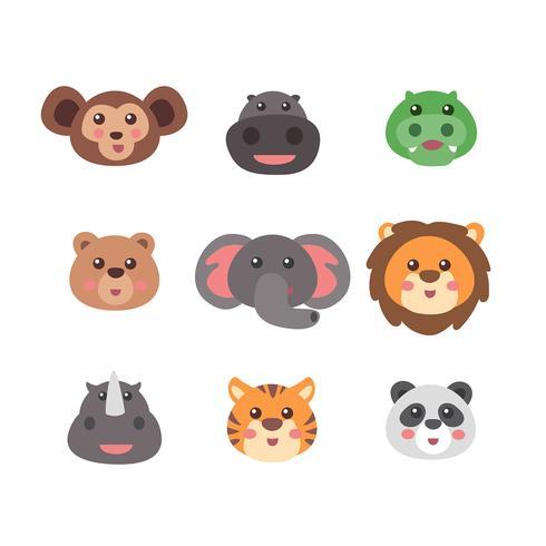 Conjunto de rostos de animais selvagens