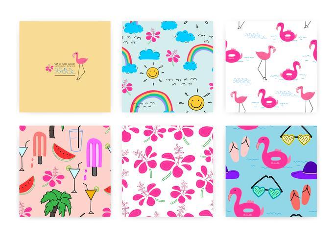 Insieme del reticolo senza giunte con il concetto di estate. Illustrazioni di sfondo per la confezione regalo.