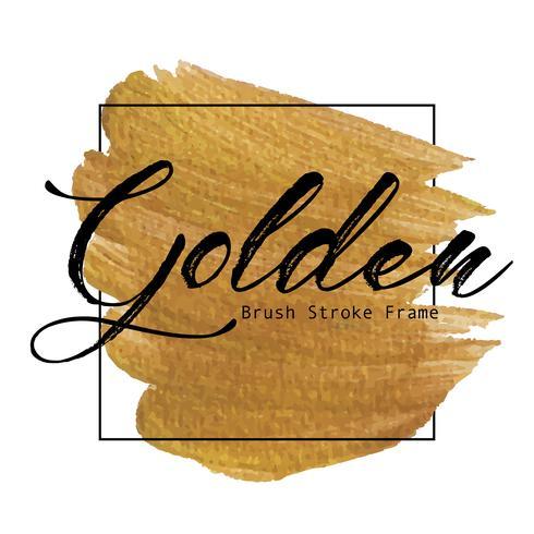 Struttura dorata del colpo della spazzola, macchia della pittura di struttura dell'oro, illustrazione di vettore.