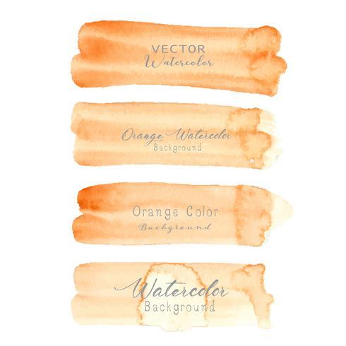 Aquarela de traçado de pincel laranja em fundo branco. Ilustração vetorial