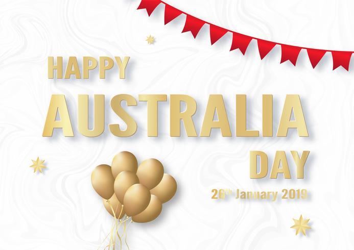 Feliz día de Australia el 26 de enero. Diseño de plantillas para cartel, tarjeta de invitación, banner, publicidad, flyer. Ilustración vectorial en papel cortado y estilo artesanal.