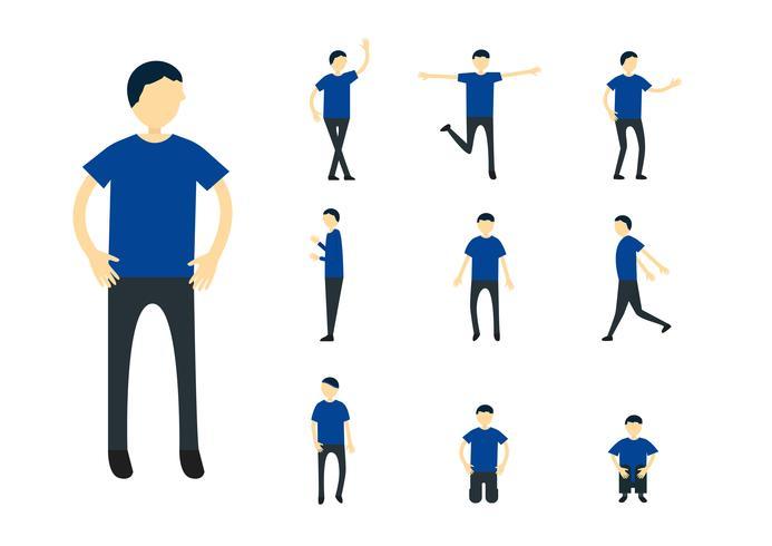 Conjunto de design de personagens de pessoa com camisa azul, isolada no fundo branco. vetor
