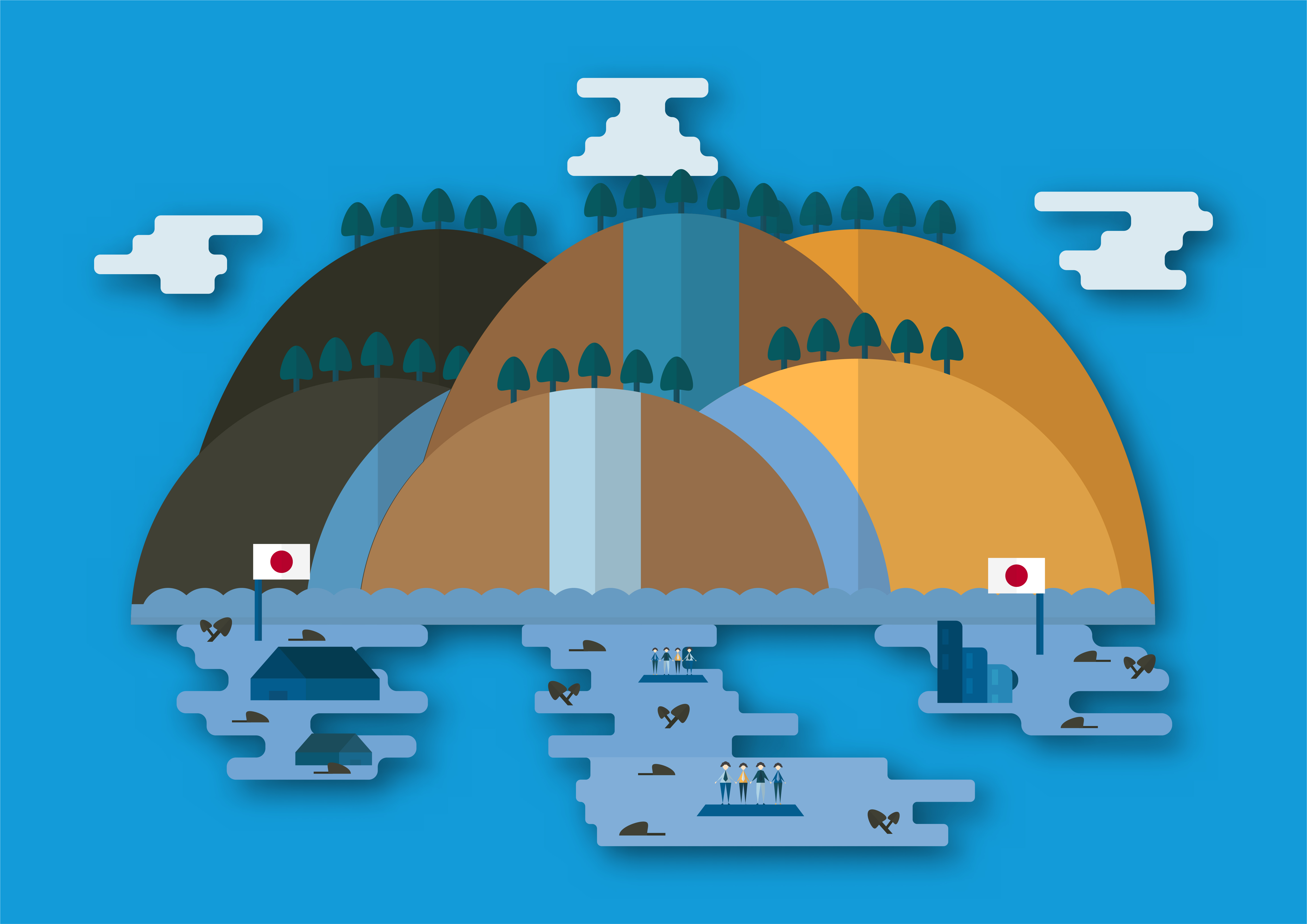 Vector illustration in concept of flood at Japan country ...
