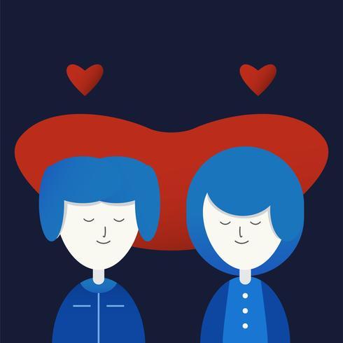 Personagem de amor casal com coração vermelho. Vector design em estilo plano gradiente isolado em fundo azul escuro.