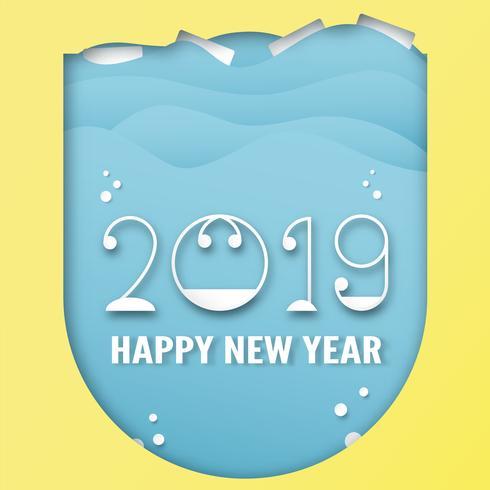 Decorazione del buon anno 2019 su fondo blu. Vector l'illustrazione con la progettazione di calligrafia del numero nel mestiere del taglio e digitale della carta.