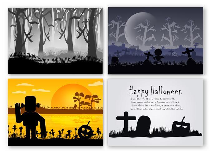 Conjunto de cena do dia de halloween em outubro. Vector a ilustração no estilo da silhueta com floresta, abóbora, frankenstein e osso.
