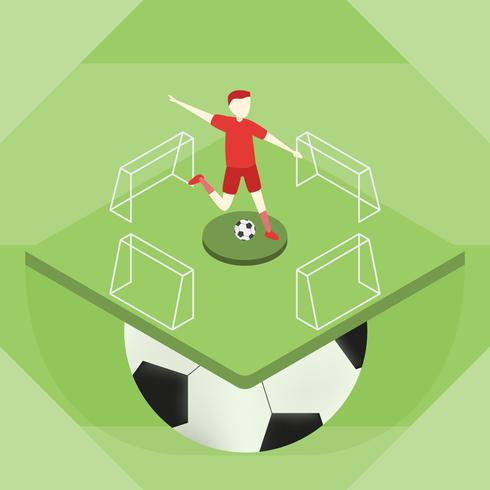 Soccer player kick the ball on the sport field. Vector design for banner.