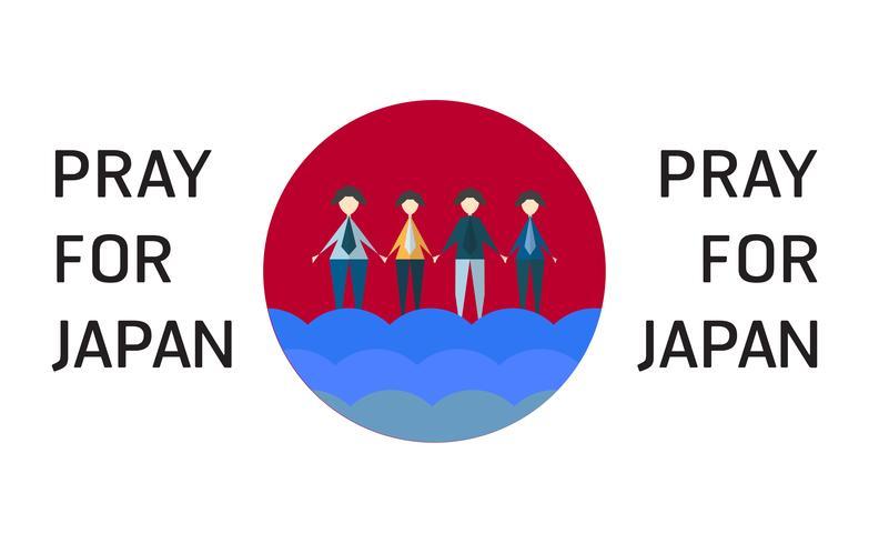 Vector a ilustração no conceito da inundação no país de Japão. Ore por japonês na cidade de Takatsuki.